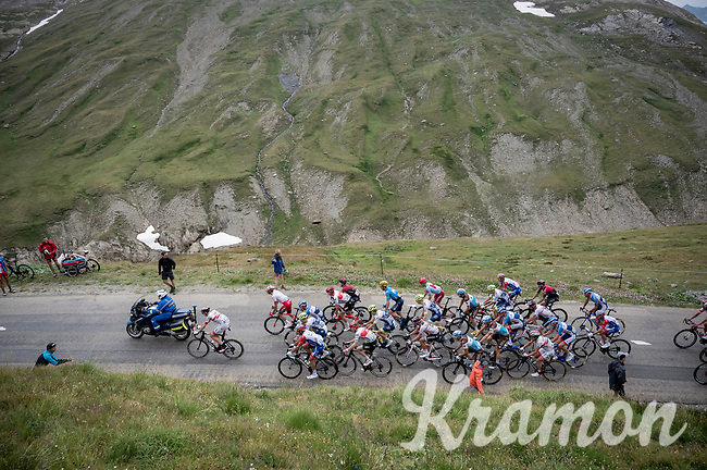 grupetto escorted up the Col de l'Iseran (HC/2751m/13km@7.3%) <br /> > where the race was eventually stopped (at the top) because of landslides further up the road (after a severe hail storm in Tignes)<br /> <br /> Stage 19: Saint-Jean-de-Maurienne to Tignes (126km)<br /> 106th Tour de France 2019 (2.UWT)<br /> <br /> ©kramon