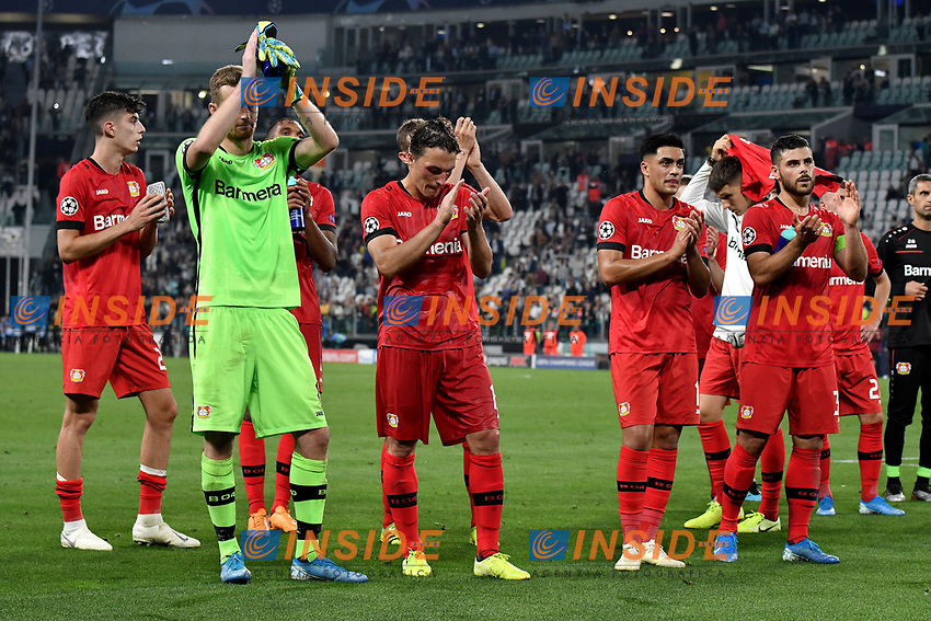 Dejection of Leverkusen players at the end of the match <br /> Torino 01/10/2019 Juventus Stadium <br /> Football Champions League 2019//2020 <br /> Group Stage Group D <br /> Juventus - Leverkusen <br /> Photo Andrea Staccioli / Insidefoto