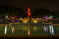 UT Littlefield Fountain Night -  Last night the UT Tower lights up burnt orange for the graduating class of 2017 on the campus in downtown Austin.  In the forefront the Littlefield fountain was flowing water with the burnt orange tower behind with number 17 for the class of 2017.  This is the classic UT graduation in downtown Austin.  You can see the tower from many locations through out the city and when it changes color it is usually because they won in some sport or other worthy events.
