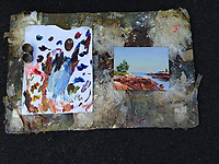 Palette and Painting of Josh Adam, Schoodic Peninsula, Acadia National Park, Mt. Desert Island, Maine, US
