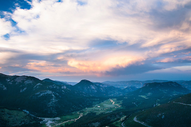 sunset, sky, clouds, color, colorful, mountains, summer, evening, Rocky Mountain National Park, Colorado, Rocky Mountains, USA