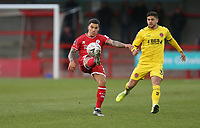 Crawley Town's Reece Grego-Cox and Fleetwood Town's Danny Andrew<br /> <br /> Photographer Rob Newell/CameraSport<br /> <br /> Emirates FA Cup Second Round - Crawley Town v Fleetwood Town - Sunday 1st December 2019 - Broadfield Stadium - Crawley<br />  <br /> World Copyright © 2019 CameraSport. All rights reserved. 43 Linden Ave. Countesthorpe. Leicester. England. LE8 5PG - Tel: +44 (0) 116 277 4147 - admin@camerasport.com - www.camerasport.com