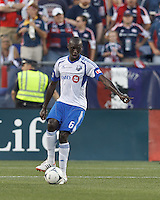 Montreal Impact defender Hassoun Camara (6) looks to pass. In a Major League Soccer (MLS) match, Montreal Impact defeated the New England Revolution, 1-0, at Gillette Stadium on August 12, 2012.