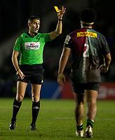 Referee Frank Murphy shows the yellow card to Harlequins' Elia Elia<br /> <br /> Photographer Bob Bradford/CameraSport<br /> <br /> European Rugby Heineken Champions Cup Pool 3 - Harlequins v Bath Rugby - Saturday 23rd November 2019 - Twickenham Stoop - London<br /> <br /> World Copyright © 2019 CameraSport. All rights reserved. 43 Linden Ave. Countesthorpe. Leicester. England. LE8 5PG - Tel: +44 (0) 116 277 4147 - admin@camerasport.com - www.camerasport.com