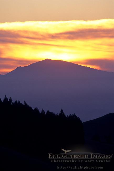 Sunrise over Mt. Diablo, from the hills near Orinda, Contra Costa County, CALIFORNIA