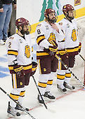 Brady Lamb (Duluth - 2), Drew Olson (Duluth - 8), Mike Seidel (Duluth - 17) - The University of Minnesota-Duluth defeated the University of Notre Dame Fighting Irish 4-3 in their 2011 Frozen Four Semi-Final on Thursday, April 7, 2011, at the Xcel Energy Center in St. Paul, Minnesota.