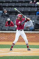 Trent Bryan (23) of the Harvard Crimson at bat against the Wake Forest Demon Deacons at David F. Couch Ballpark on March 5, 2016 in Winston-Salem, North Carolina.  The Crimson defeated the Demon Deacons 6-3.  (Brian Westerholt/Four Seam Images)