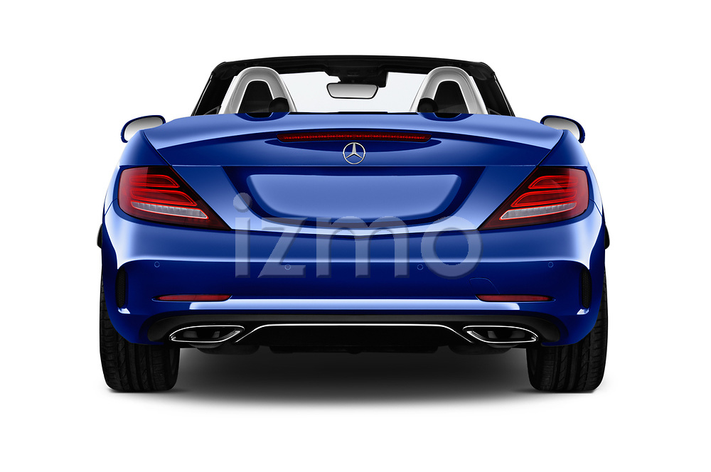 Straight rear view of a 2018 Mercedes Benz SLC AMG Line 2 Door Convertible stock images