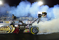 Oct. 26, 2012; Las Vegas, NV, USA: NHRA funny car driver Khalid Albalooshi during qualifying for the Big O Tires Nationals at The Strip in Las Vegas. Mandatory Credit: Mark J. Rebilas-