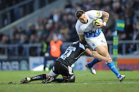 Matt Banahan of Bath Rugby is tackled by Sam Hill of Exeter Chiefs during the LV= Cup match between Exeter Chiefs and Bath Rugby at Sandy Park Stadium on Sunday 5th February 2012 (Photo by Rob Munro)