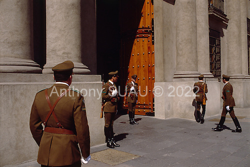 "Santiago, Chile.September 28, 1988..The entrance to the government palace La Moneda where General Augusto Pinochet governs the country...In 1988, General Augusto Pinochet ordered a plebiscite vote asking Chilean citizens whether he should continue in office. It produced a decisive ""no"" vote and the following year he lost the first presidential election in 19 years. However, under a constitution crafted by his advisors, he remained as army commander until 1998. Pinochet continued to wield enormous power until his arrest in London on human rights charges in October 1998."