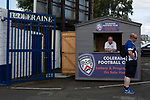 Programme sellers on duty inside the stadium perimeter before Coleraine played Spartak Subotica of Serbia in a Europa League Qualifying First Round second leg at the Showgrounds, Coleraine. The hosts from Northern Ireland had drawn the away leg 1-1 the previous week, however, the visitors won the return leg 2-0 to progress to face Sparta Prague in the next round, watched by a sell-out crowd of 1700.