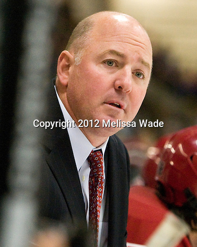Ted Donato (Harvard - Head Coach) - The Harvard University Crimson defeated the visiting Bentley University Falcons 5-0 on Saturday, October 27, 2012, at Bright Hockey Center in Boston, Massachusetts.
