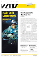 Die Wochenzeitung WOZ (Swiss weekly) on the gold mining project of Rosia Montana, Romania, 2013.04.11. Photo: Martin Fejer