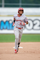 Greeneville Reds designated hitter Reniel Ozuna (27) rounds the bases after hitting a home run in the top of the third inning during the second game of a doubleheader against the Princeton Rays on July 25, 2018 at Hunnicutt Field in Princeton, West Virginia.  Greeneville defeated Princeton 8-7.  (Mike Janes/Four Seam Images)