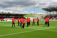 Fleetwood Town players inspect the pitch before the Sky Bet League 1 match between Northampton Town and Fleetwood Town at Sixfields Stadium, Northampton, England on 12 August 2017. Photo by Alan  Stanford / PRiME Media Images.