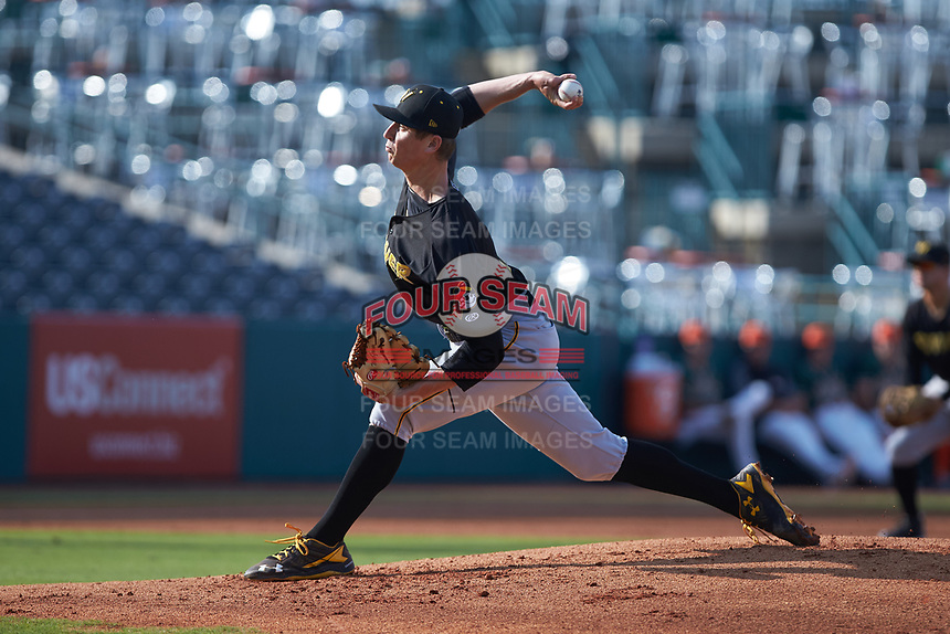 West Virginia Power starting pitcher Travis MacGregor (15) delivers a pitch to the plate against the Greensboro Grasshoppers at First National Bank Field on August 9, 2018 in Greensboro, North Carolina. The Power defeated the Grasshoppers 5-3 in game one of a double-header. (Brian Westerholt/Four Seam Images)