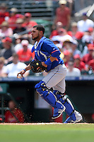 New York Mets catcher Johnny Monell (19) during a Spring Training game against the St. Louis Cardinals on April 2, 2015 at Roger Dean Stadium in Jupiter, Florida.  The game ended in a 0-0 tie.  (Mike Janes/Four Seam Images)