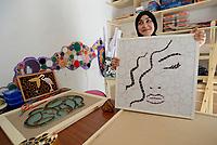 AIN DRAHAM, TUNISIA - SEPTEMBER 21::Leila Hleli, <br />  &egrave; una giovane mosaicista sostenuta dal progetto MaTerre, che ha aperto un laboratorio e un circolo musivo chiamato Moz-Art, e in passato ha anche partecipato al restauro dei mosaici presso il sito archeologico di Bulla Regia.<br /> <br /> Leila Hleli, s a young mosaicist supported by the MaTerre project, who opened a workshop and a mosaic club called Moz-Art, and in the past she also participated in the restoration of mosaics at the archaeological site of Bulla Regia