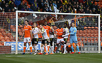 Blackpool players position themselves for a corner kick is closely marked by Burton Albion defenders<br /> <br /> Photographer Stephen White/CameraSport<br /> <br /> The EFL Sky Bet League One - Blackpool v Burton Albion - Saturday 24th November 2018 - Bloomfield Road - Blackpool<br /> <br /> World Copyright © 2018 CameraSport. All rights reserved. 43 Linden Ave. Countesthorpe. Leicester. England. LE8 5PG - Tel: +44 (0) 116 277 4147 - admin@camerasport.com - www.camerasport.com
