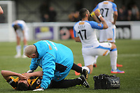 Aron Davies of Maidstone United lies on the ground after suffering a painful injury during Maidstone United vs Havant and Waterlooville, Vanarama National League Football at the Gallagher Stadium on 9th March 2019