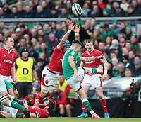 8th February 2020; Aviva Stadium, Dublin, Leinster, Ireland; International Six Nations Rugby, Ireland versus Wales; Conor Murray (Ireland) puts in a box kick under pressure