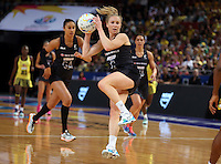 11.08.2015 Silver Ferns Laura Langman in action during the Silver Ferns v Jamaica netball match at the 2015 Netball World Cup at All Phones Arena in Sydney Australia. Mandatory Photo Credit ©Michael Bradley.