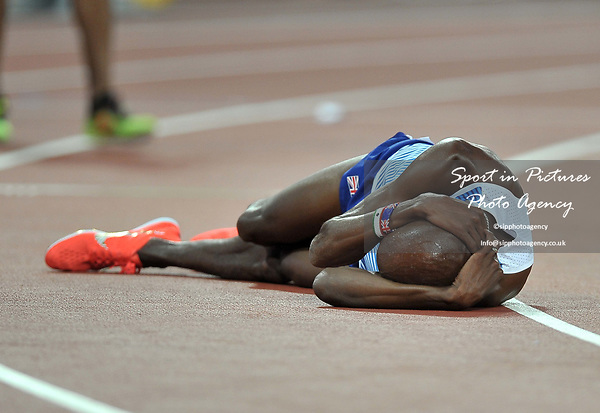 Mohamed FARAH (GBR) lays on the floor at the finish of the mens 5000m final. IAAF world athletics championships. London Olympic stadium. Queen Elizabeth Olympic park. Stratford. London. UK. 12/08/2017. ~ MANDATORY CREDIT Garry Bowden/SIPPA - NO UNAUTHORISED USE - +44 7837 394578