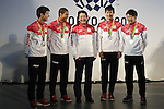 (L-R) Yoshihide Kiryu, Aska Cambridge,  Shinzo Abe, Shota Iizuka, Ryota Yamagata,<br /> AUGUST 21, 2016 - : <br /> Japanese prime minister Shinzo Abe attended the exchange meeting with Japan National team member and <br /> their medalist<br /> at Japan House in Rio de Janeiro <br /> during the Rio 2016 Olympic Games in Rio de Janeiro, Brazil. <br /> (Photo by Yusuke Nakanishi/AFLO SPORT)
