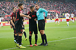 30.11.2019, RheinEnergieStadion, Koeln, GER, 1. FBL, 1.FC Koeln vs. FC Augsburg,<br />  <br /> DFL regulations prohibit any use of photographs as image sequences and/or quasi-video<br /> <br /> im Bild / picture shows: <br /> Florian Niederlechner (FC Augsburg #7),   und Daniel Baier (FC Augsburg #10),   Diskussionen mit Schiedsrichter / referee Tobias Stieler (SR)<br /> <br /> Foto © nordphoto / Meuter