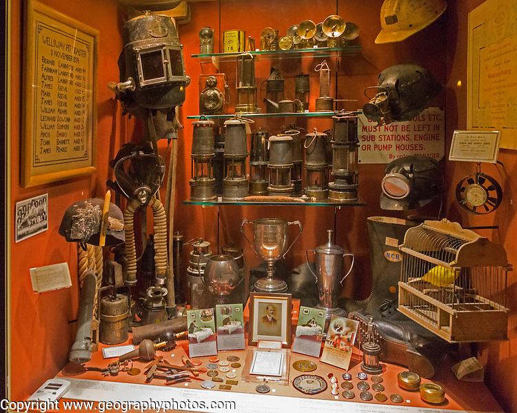 Display cabinet relating to history of coal mining in north Somerset coalfield, Radstock museum, Somerset, England, UK