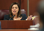 Nevada Assemblywoman Teresa Benitez Thompson, D-Reno, works in committee at the Legislative Building in Carson City, Nev., on Monday, March 23, 2015. <br /> Photo by Cathleen Allison