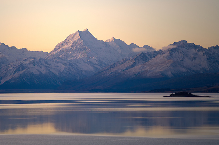 Sunset Aoraki / Mount Cook, Mt Tasman and the southern alps from the southern shores of Lake Pukaki on SH8. McKenzie Country - stock photo, canvas, fine art print