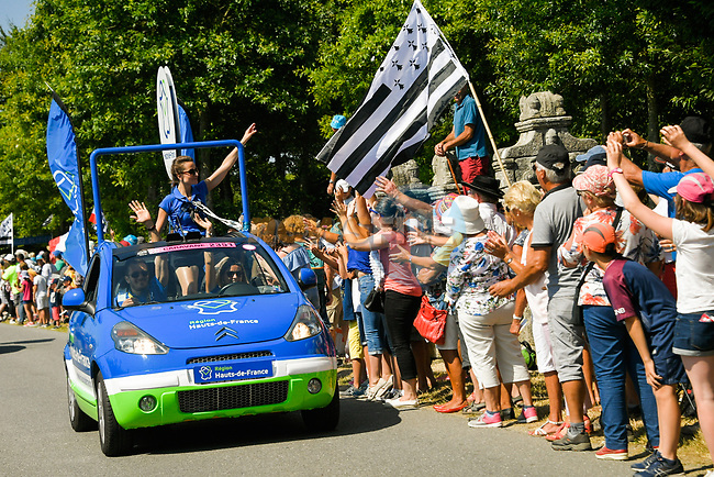 The publicity caravan passes by ahead of the race during Stage 6 of the 2018 Tour de France running 181km from Brest to Mur-de-Bretagne Guerledan, France. 12th July 2018. <br /> Picture: ASO/Bruno Bade   Cyclefile<br /> All photos usage must carry mandatory copyright credit (© Cyclefile   ASO/Bruno Bade)