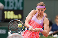June 1, 2015: Lucie Safarova of Czech Republic in action in a 4th round match against Maria Sharapova of Russian Federation on day nine of the 2015 French Open tennis tournament at Roland Garros in Paris, France. Safarova won 76 64. Sydney Low/AsteriskImages