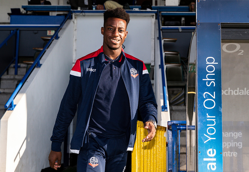 Bolton Wanderers' De'Marlio Brown-Sterling goes out to inspect the pitch before the match<br /> <br /> Photographer Andrew Kearns/CameraSport<br /> <br /> The Carabao Cup First Round - Rochdale v Bolton Wanderers - Tuesday 13th August 2019 - Spotland Stadium - Rochdale<br />  <br /> World Copyright © 2019 CameraSport. All rights reserved. 43 Linden Ave. Countesthorpe. Leicester. England. LE8 5PG - Tel: +44 (0) 116 277 4147 - admin@camerasport.com - www.camerasport.com