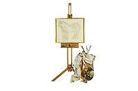 BNPS.co.uk (01202 558833)<br /> Pic: ChiswickAuctions/BNPS<br /> <br /> Pictured: An abandoned drawing of a horse by Lucian Freud together with painting materials he also left behind have sold at auction for £80,000.<br />  <br /> The celebrated British artist gave up on his study of the horse called Goldie halfway through as he decided he didn't like her personality.<br /> <br /> He left the unfinished work at the Wormwood Scrubs Pony Centre in west London along with his easel, palette and paint brushes. <br /> <br /> At first Sister Mary-Joy Langdon, who runs the centre, had no idea who the artist was and had even offered him advice on painting horses.