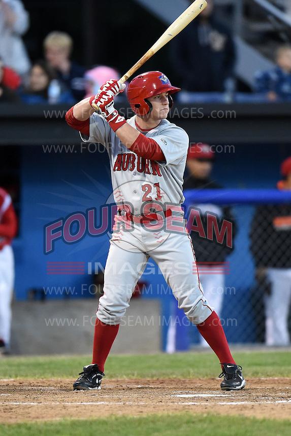 Auburn Doubledays outfielder Garrett Gordon (21) pinch hits during a game against the Batavia Muckdogs on June 14, 2014 at Dwyer Stadium in Batavia, New York.  Batavia defeated Auburn 7-2.  (Mike Janes/Four Seam Images)