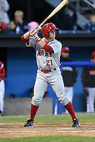 Auburn Doubledays outfielder Garrett Gordon (21) pinch hits during a game against the Batavia Muckdogs on June 14, 2014 at Dwyer Stadium in Batavia, New York.  Batavia defeated Auburn 7-2.  (Mike Janes/Four Seam Images)