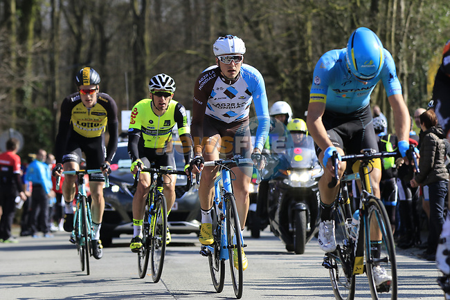The breakaway group climb of La Houpe during the 60th edition of the Record Bank E3 Harelbeke 2017, Flanders, Belgium. 24th March 2017.<br /> Picture: Eoin Clarke   Cyclefile<br /> <br /> <br /> All photos usage must carry mandatory copyright credit (&copy; Cyclefile   Eoin Clarke)