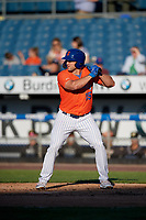 Syracuse Mets Tim Tebow (15) at bat during an International League game against the Charlotte Knights on June 11, 2019 at NBT Bank Stadium in Syracuse, New York.  Syracuse defeated Charlotte 15-8.  (Mike Janes/Four Seam Images)