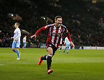 Billy Sharp of Sheffield Utd celebrates although it was disallowed for offside during the English League One match at Bramall Lane Stadium, Sheffield. Picture date: April 5th 2017. Pic credit should read: Simon Bellis/Sportimage