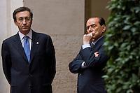 Roma, 9 Marzo 2006. Gianfranco Fini e Silvio Berlusconni in attesa della visita di Mubarak