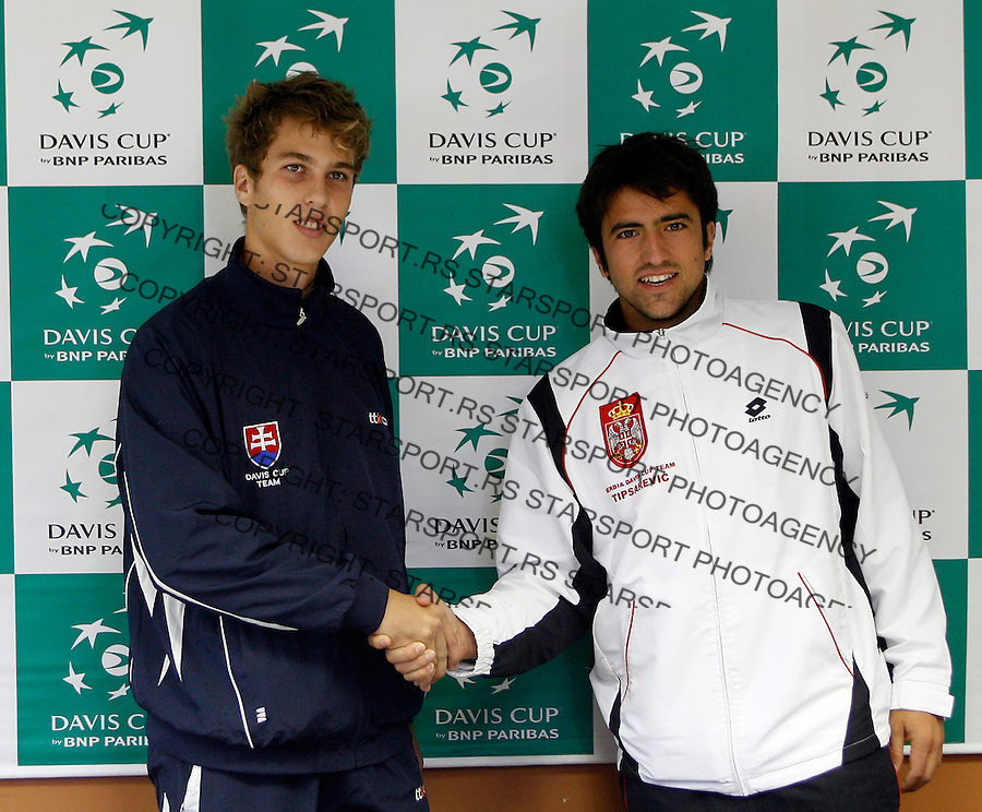 Tennis, Davis Cup official draw.Serbia team.Lukas Lacko, left and Janko Tipsarevic.Bratislava, 09.18.2008.Photo: Srdjan Stevanovic.
