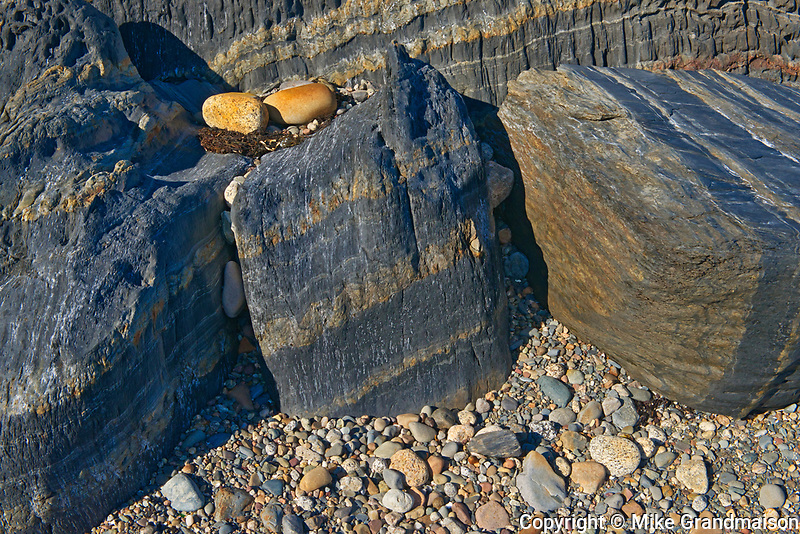 Rocks along the shoreline of the Atlantic Ocean, Blue Rocks, Nova Scotia, Canada
