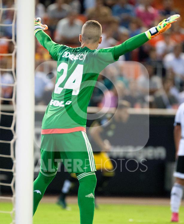 Valencia's Jaume Domenech during La Liga match.September, 25. 2015. (ALTERPHOTOS/Javier Comos)