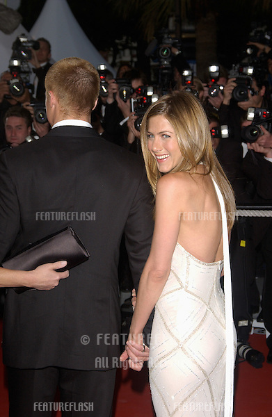 BRAD PITT & JENNIFER ANISTON at the gala screening of his movie Troy at the Cannes Film Festival..May 13, 2004