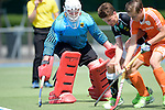 GER - Mannheim, Germany, May 16: During the whitsun tournament boys hockey match between Germany (black) and The Netherlands (orange) on May 16, 2016 at Mannheimer HC in Mannheim, Germany. Final score 4-3 (HT 2-0). (Photo by Dirk Markgraf / www.265-images.com) *** Local caption *** Anton Brinckmann (TW) #1 of Germany (U16)