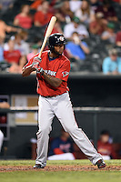 Oklahoma City RedHawks designated hitter Domingo Santana (15) at bat during a game against the Memphis Redbirds on May 23, 2014 at AutoZone Park in Memphis, Tennessee.  Oklahoma City defeated Memphis 12-10.  (Mike Janes/Four Seam Images)