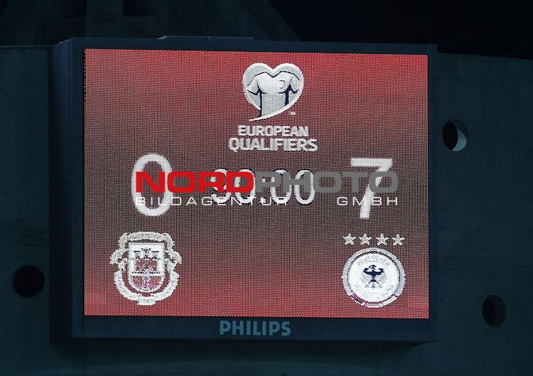 EM 2015 Qualifikationsspiel, Gibraltar vs. Deutschland<br /> Anzeigetafel mit dem Endergebnis von 7:0 f&uuml;r Deutschland<br /> <br /> <br /> Foto &copy; nordphoto /  Bratic